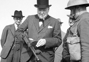 Winston Churchill with a Thompson Submachine Gun (from: bbc.co.uk)